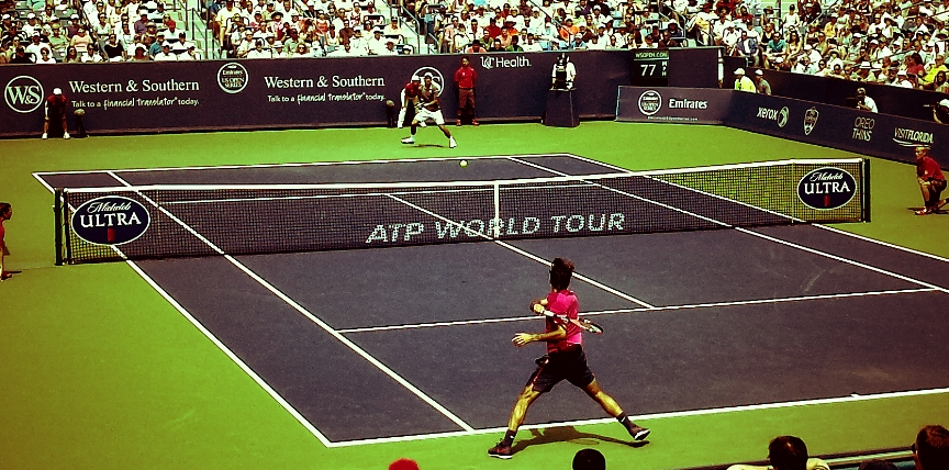 Expect a lot of this: Federer looking to create, Djokovic on his toes, rock solid.
